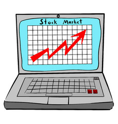 stock market laptop with graph vector image