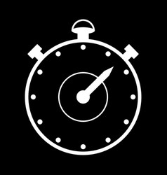 stopwatch icon on black vector image