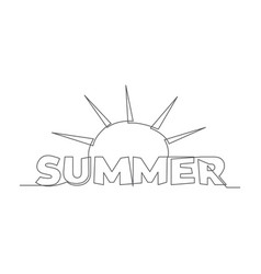 summer one line drawing vector image