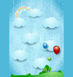 Surreal landscape with hanging clouds and balloons vector