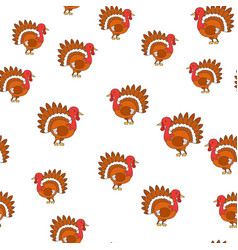 thanksgiving turkey bird cartoon seamless pattern vector image