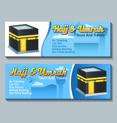 Travel banner hajj pilgrim tour vector