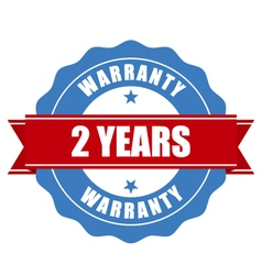 Two years warranty seal - round stamp vector image