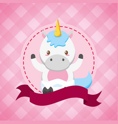 unicorn toy bashower card vector image