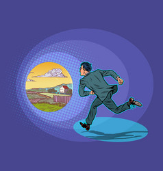vacation the businessman runs to rural vector image