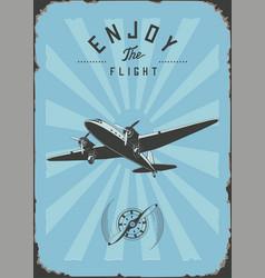 Vintage passenger plane wall art rpint blue color vector