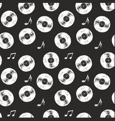 vinyl record vintage seamless pattern hand drawn vector image
