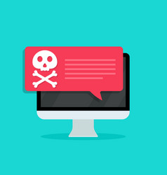Virus in computer screen icon malware and scam vector