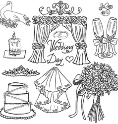 Wedding day elements Hand drawn set with flowers vector