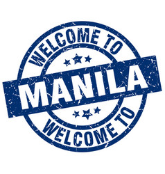 Welcome to manila blue stamp vector