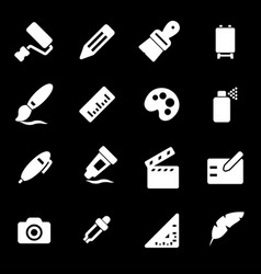 white art tools icons set vector image vector image