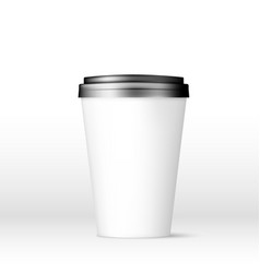 white coffee cap with black lid mock up empty mug vector image