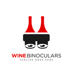 Wine bottle binocular logo vector