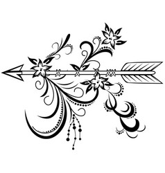 Wooden arrow with floral ornament vector