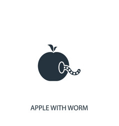 Worm in apple icon simple gardening element vector