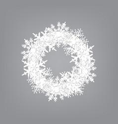 wreath of white snowflakes vector image
