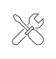 wrench crosses screwdriver icon vector image