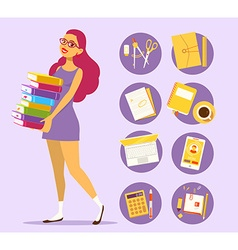 young girl in dress with pile of books on vector image