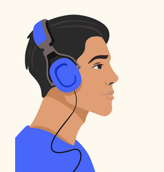 young man listening to music on headphones vector image