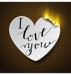 burning paperc heart vector image vector image
