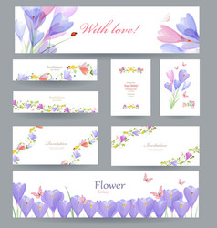 fashion collection of greeting cards with crocus vector image vector image