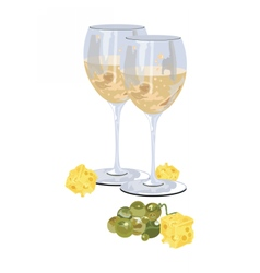 Glasses of white wine with grapes vector image vector image