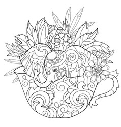 hand drawn doodle outline elephant vector image vector image