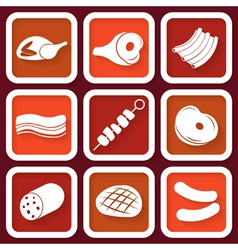 Set of 9 retro icons with meat vector image vector image