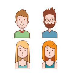 avatars people man and woman portrait set vector image