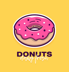 donut with pink icing and text logo design vector image