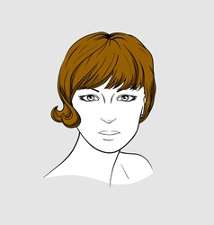 Face of a woman with short brown hair vector image vector image