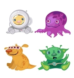 Four funny bizarre alien fictional characters vector image