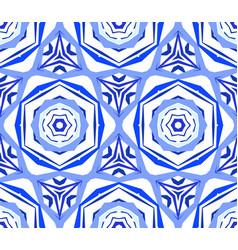 kaleidoscopic pattern blue flower background vector image vector image