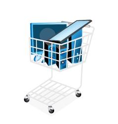 Set of Desktop Computer in Shopping Cart vector image