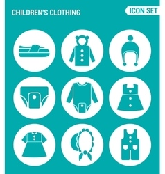 set of round icons white Children s clothing vector image