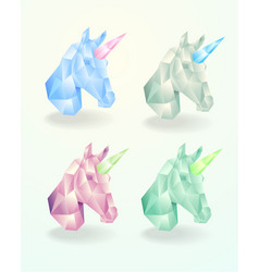 set of the head of a unicorn low poly vector image vector image