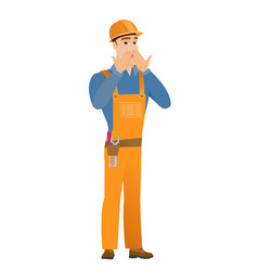 shoked caucasian builder covering his mouth vector image vector image