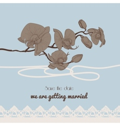 Vintage style wedding invitation orchid twig and vector image vector image