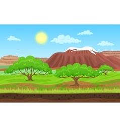 Cartoon color nature spring summer landscape in vector image