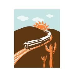 diesel train locomotive retro sun and mountain vector image vector image