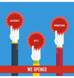 Grand opening - hands holding stickers vector image