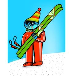 skier cartoon vector image vector image