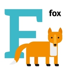 English animals zoo alphabet letter F vector image