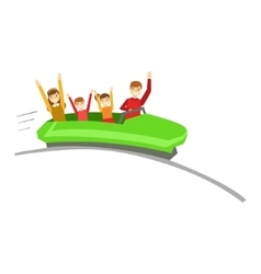 Parent And Kids On Rollercoaster Ride In Amusement vector image vector image