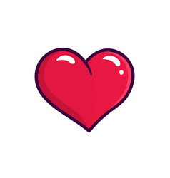 red heart icon isolated on white background vector image vector image