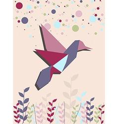 Single Origami hummingbird in pink vector image vector image