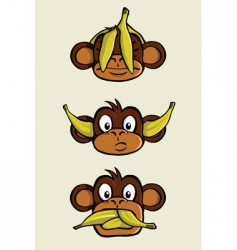 three wise monkeys vector image vector image