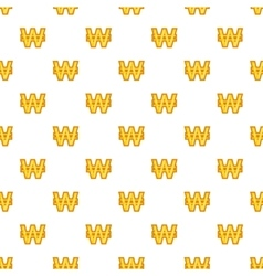 Won currency symbol pattern cartoon style vector image vector image