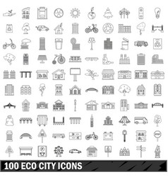100 eco city icons set outline style vector