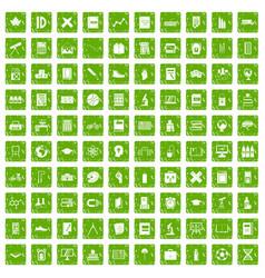 100 school icons set grunge green vector image